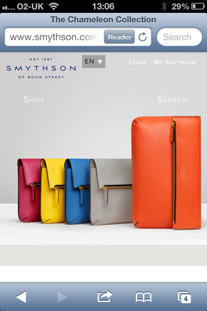 Smythson mobile site