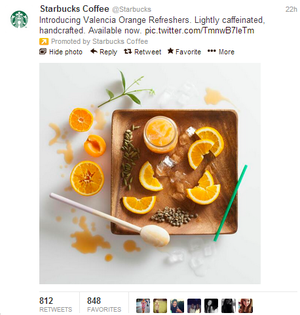 Starbucks promoted tweet