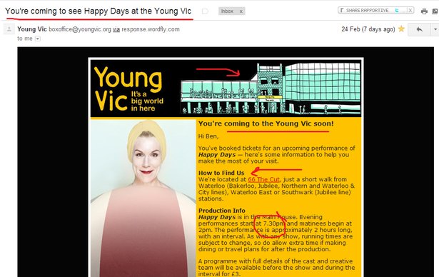 young vic email to remind me to turn up