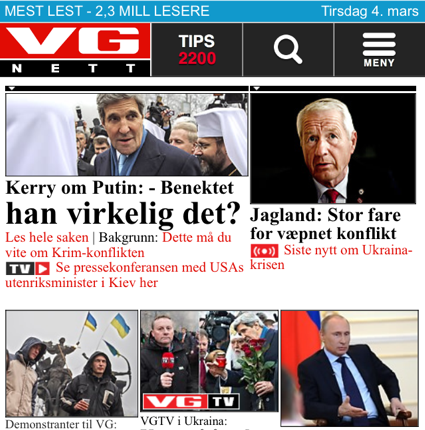 verdens gang mobile front page