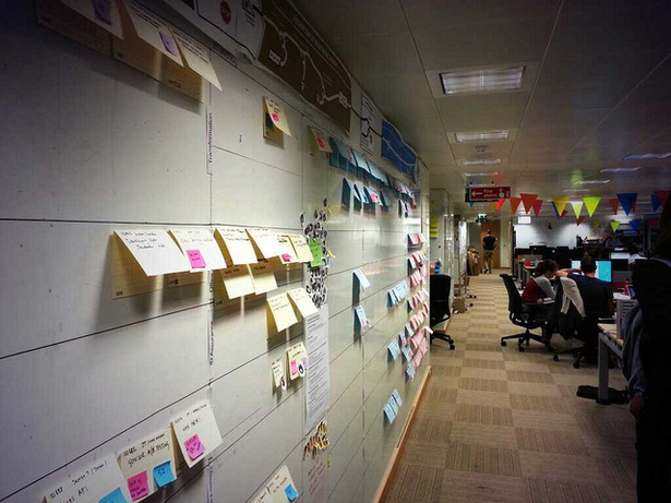 Walls covered with post-it notes
