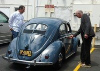 larry david with vw beatle