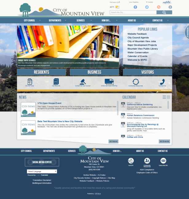 city of mountain view website on mobile