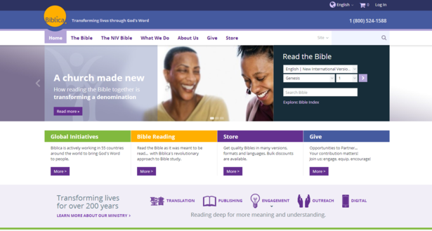 biblica website on desktop