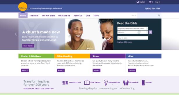 biblica website on desktop