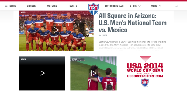 us soccer website on desktop