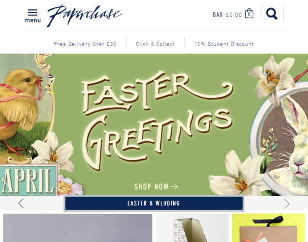paperchase website on tablet