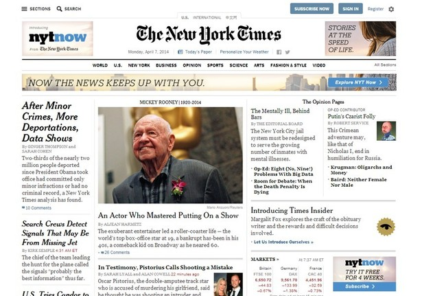 The New York Times website home page