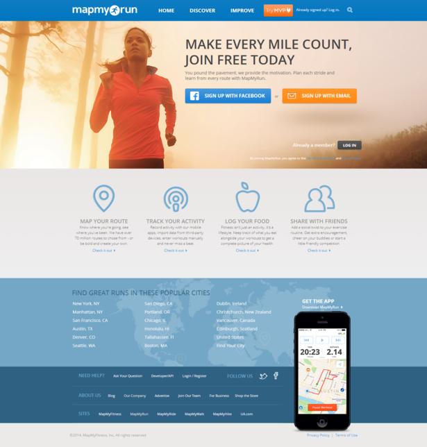 mapmyrun homepage