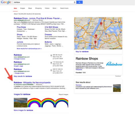 universal search results for rainbow