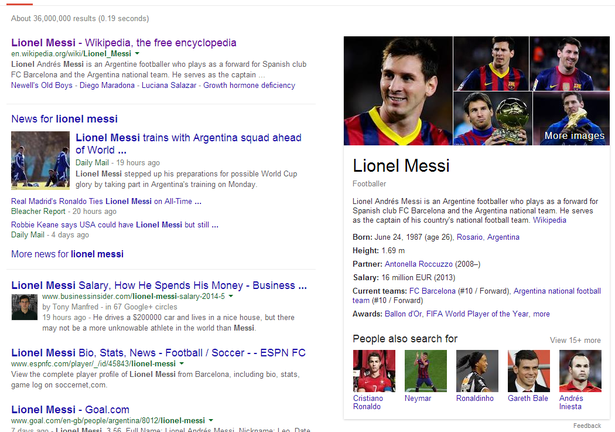lionel messi card in SERPs
