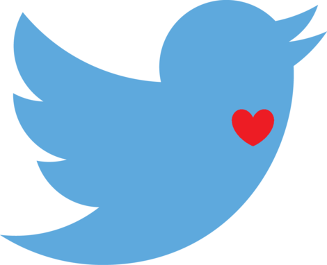 twitter bird with heart