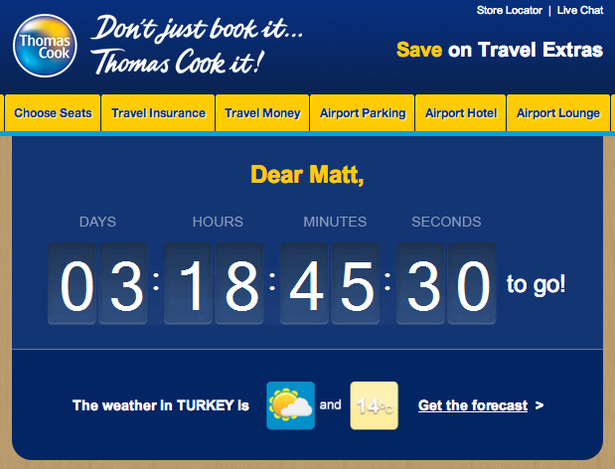thomas cook email with destination weather