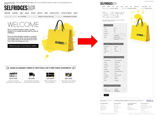 Selfridges email signup