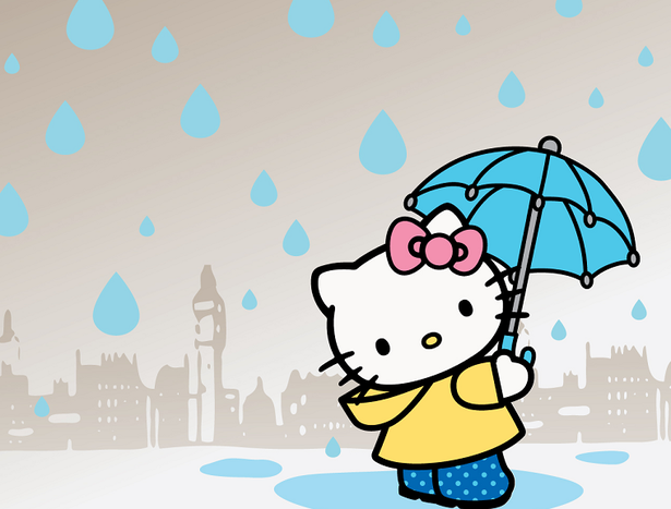 hello kitty in the rain