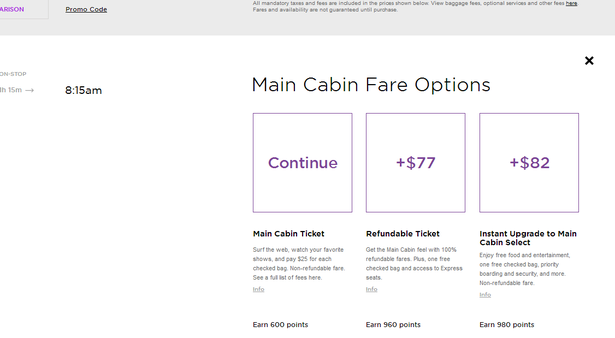 upgrade cards on virgin america