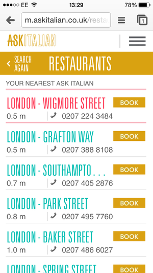 Table Online The Same Third Party Site That Jamie S And Prezzo Uses However You Can Click Through To It Directly From List Of Nearest Restaurants