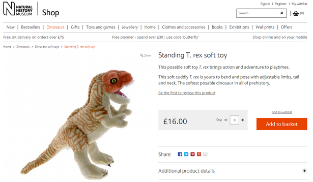 standing T. rex soft toy
