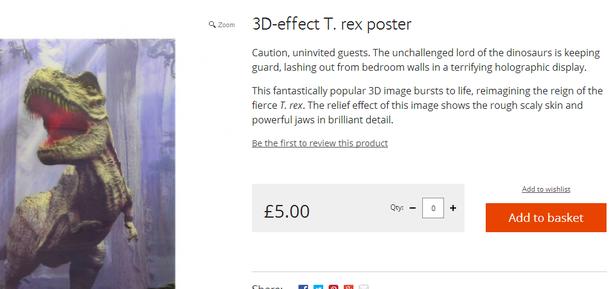 T.rex wall poster