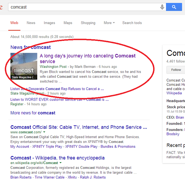 comcast search results