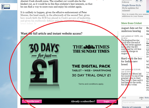 the times subscription landing page