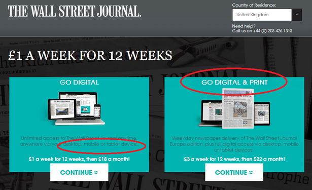 wsj subscription page on desktop