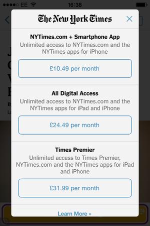 nyt mobile app overlay