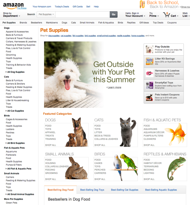 Ecommerce main category page layout: Where to place key
