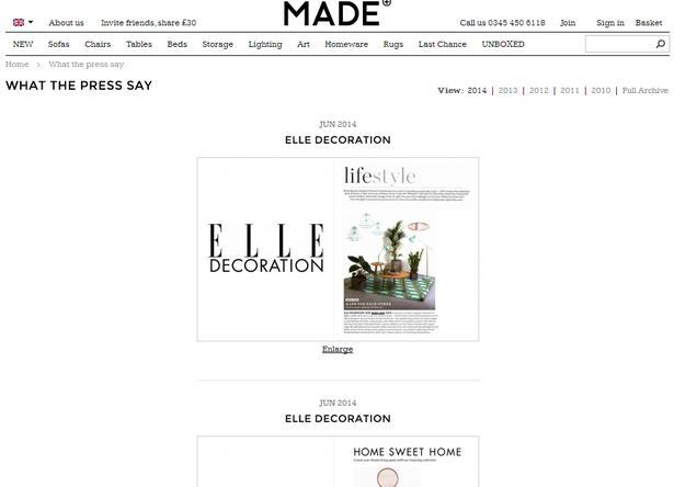 made.com press section