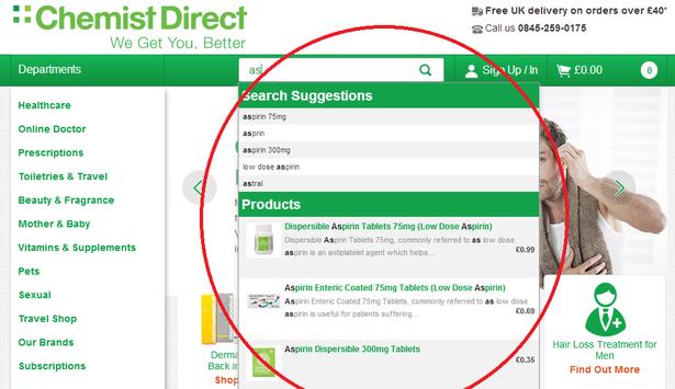 chemist direct site search
