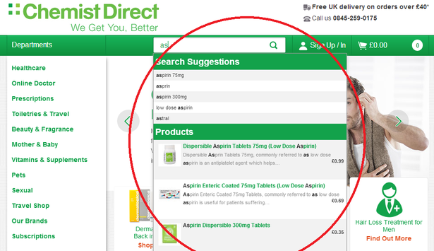 chemist direct site search