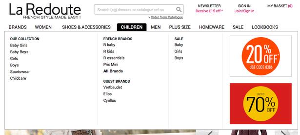 la redoute menu 2014