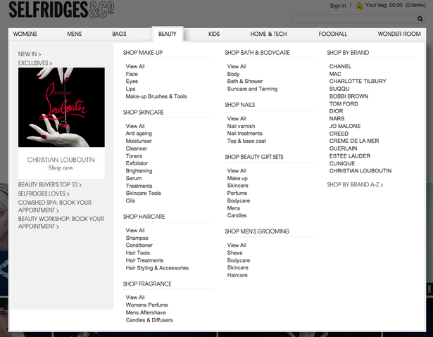 selfridges menu 2014