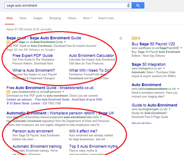 sage auto enrolment in the serps