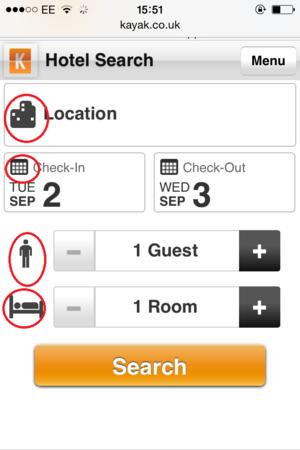 kayak mobile site