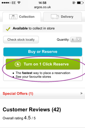 one click reserve argos mobile