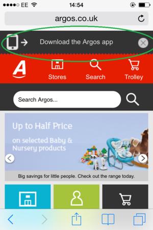 argos app message