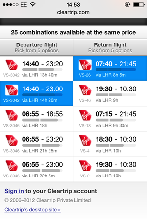 cleartrip out and return flights