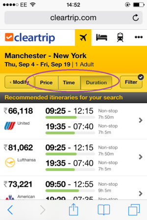 filters and sorts on cleartrip mobile site
