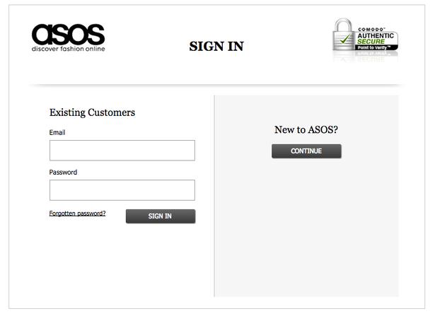 asos persuasive design login