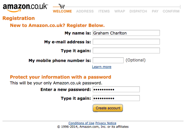 amazon checkout registrazione chiara e semplificata