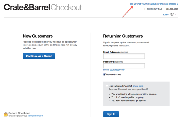 crate-barrel survey miglioramento funnel optimization check-out