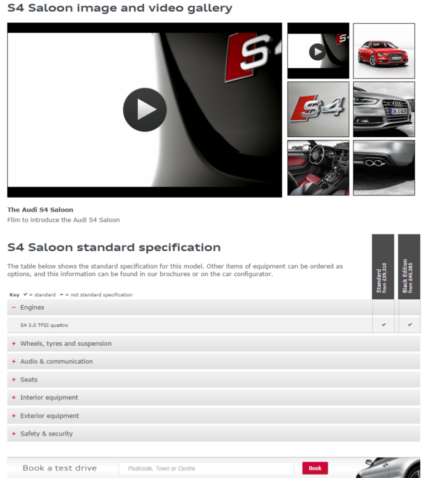 audi product page