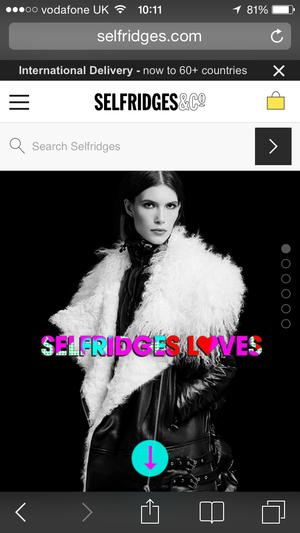 Selfridges mobile homepage