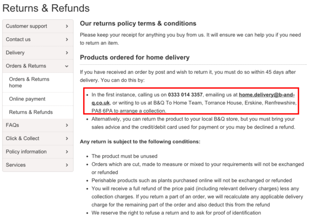 How five top UK ecommerce sites handle online returns | Econsultancy