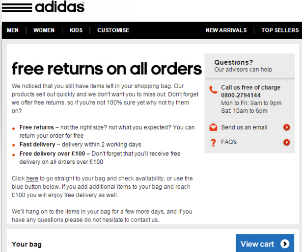 What makes the Adidas basket abandonment emails so good ...