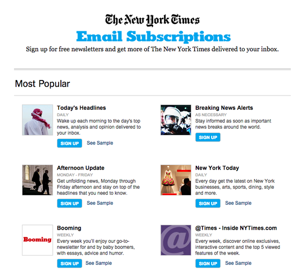 nyt free email newsletters