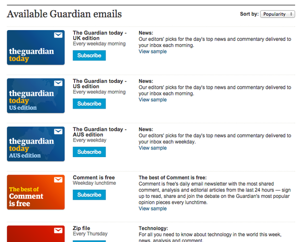 guardian email newsletters