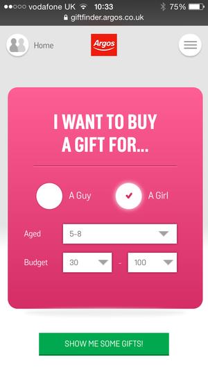Argos gift app