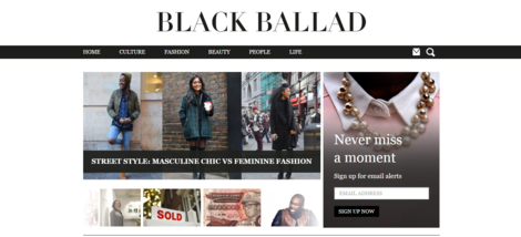 Black Ballad homepage screenshot